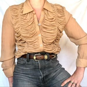 VTG 90s Y2K Silk Nude Ruched Coffin Button Blouse